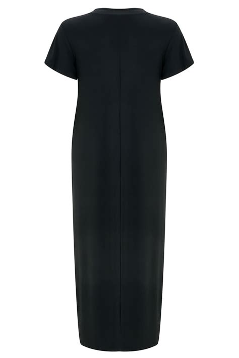 Big Lots Background Check Black Slinky Drape Front Maxi Dress With Embellished Ring