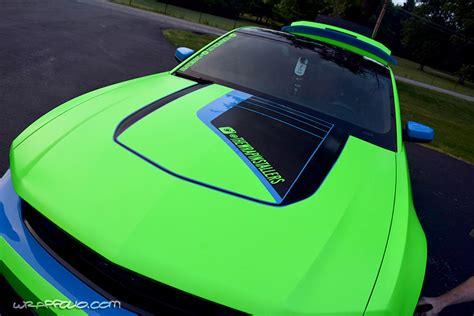 Wrap Giveaway - satin neon green mustang wrapfolio