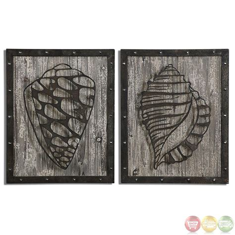 rustic conch shells rustic laser cut metal wall 07677