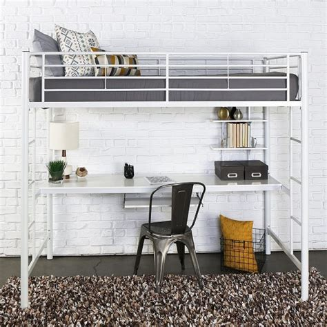 white bunk bed with desk white metal inbuilt bunk bed with desk