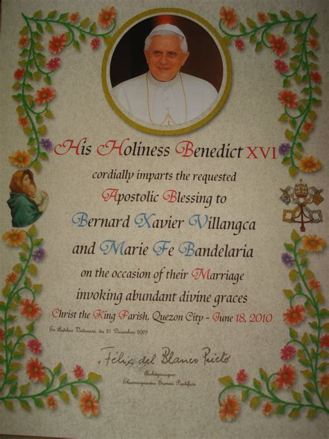 Wedding Blessing From The Pope by Papal Blessing Bob And Marf S Site