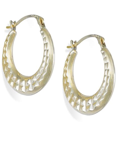 macy s cut hoop earrings in 10k gold 15mm in