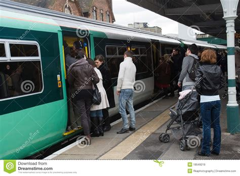 Gets On by Passengers Trying To Get On A Editorial Stock Image