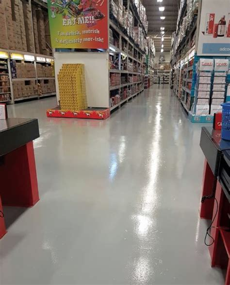 floor repairs and coatings in challenging hardware store