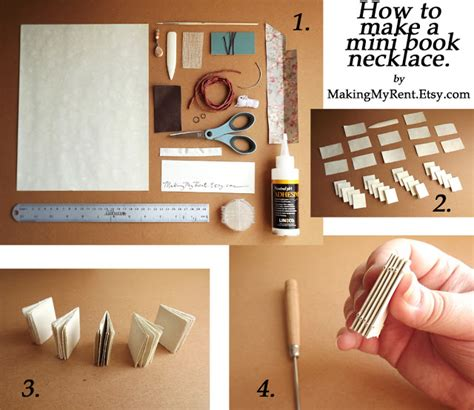How To Make Mini Books Out Of Paper - my rent mini book necklace tutorial