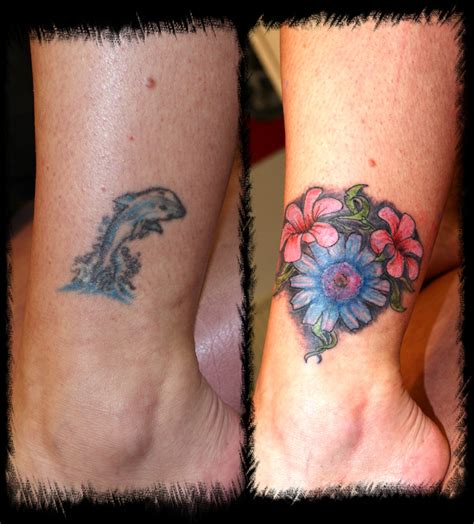 ankle tattoo cover up designs dolphin cover up picture