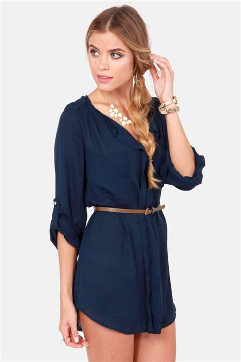navy blue dress belted dress shirt dress 42 00