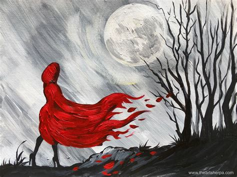 watercolor wolf tutorial little red riding hood easy painting on canvas step by