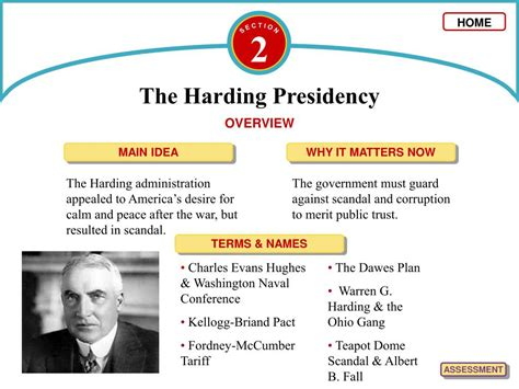 Chapter 12 Section 2 The Harding Presidency by Ppt C H A P T E R Powerpoint Presentation Id 62079