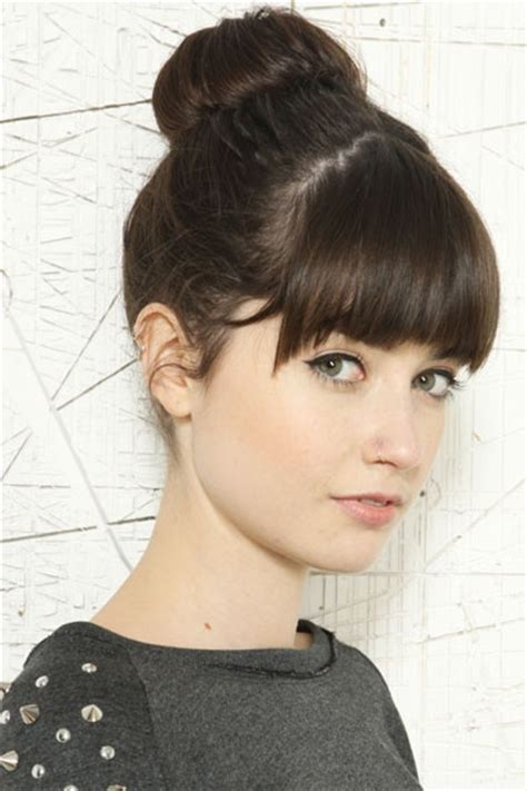 Updo Hairstyles With Bangs by 18 And Simple Updo Hairstyles For Medium Hair