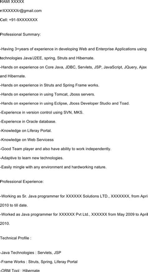 Java Struts Resume Sle java struts resume