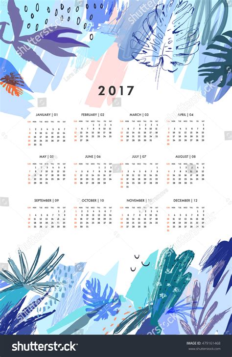Creative Calendar 2017 Template Leaves Floral Stock Vector 479161468 Shutterstock Creative Calendar Template