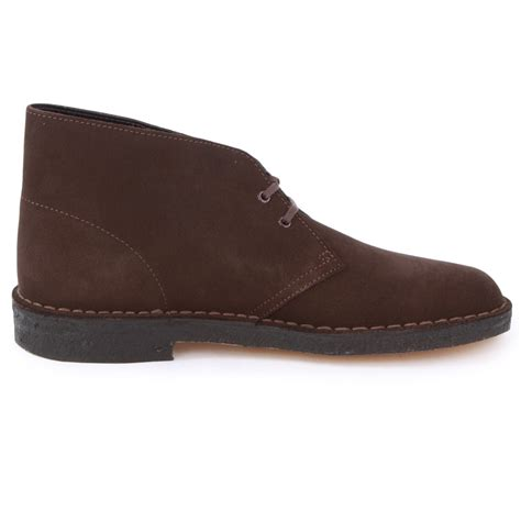 clarks originals desert boots in brown suede