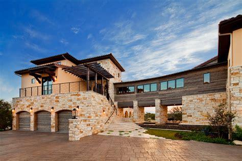Mediterranean Home Decor Accents Waterfront Luxury Home On Lake Travis Mediterranean