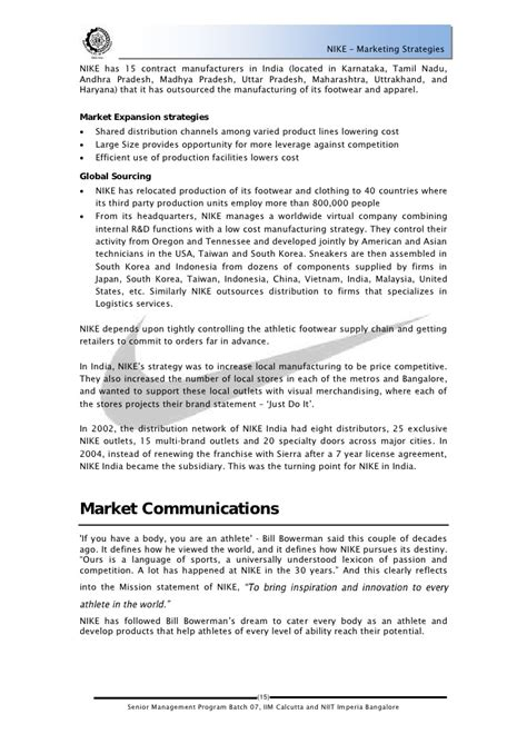 Sponsorship Letter Nike Nike Marketing Strategies