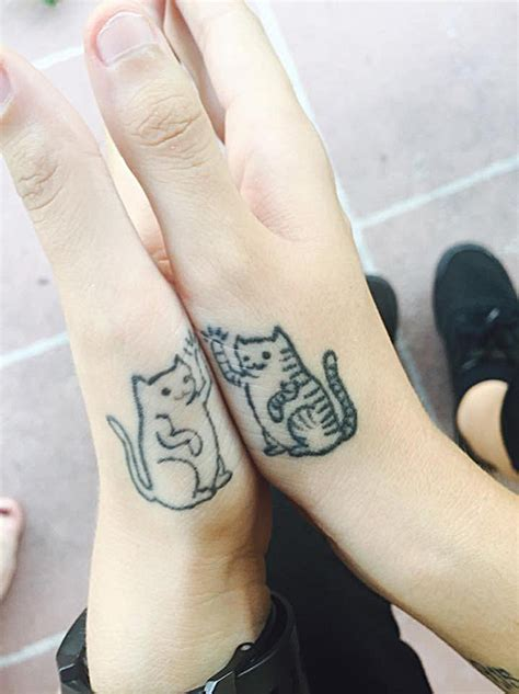 matching cat tattoos 20 minimalistic cat tattoos for cat bored panda