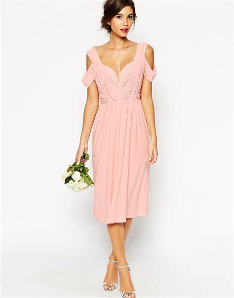 asos wedding cold shoulder ruched midi dress in pink lyst