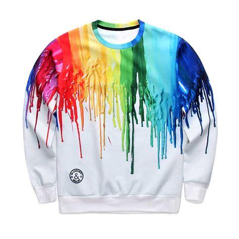 Pakaian T Shirt Pria lukisan minyak kedatangan baru t shirt pria memercik pada