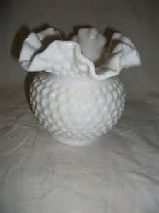vintage fenton milk glass vase with ruffled edged by