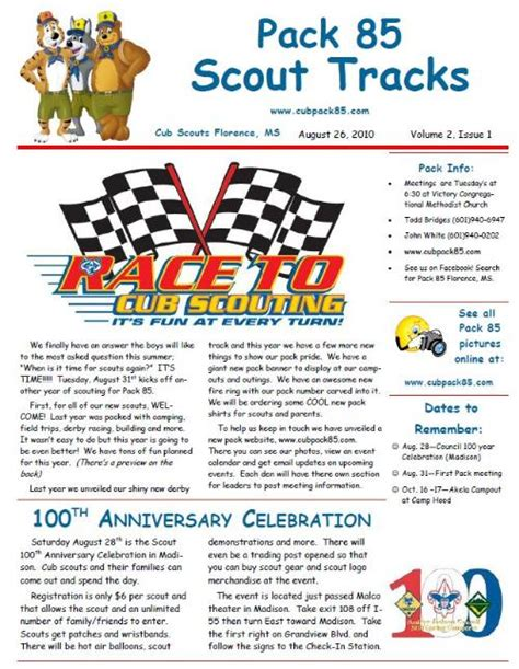 cub scout pack newsletter template newsletter cub scout pack 85 florence mississippi