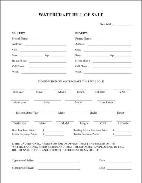 boat bill of sale form boat bill of sale form for free formtemplate