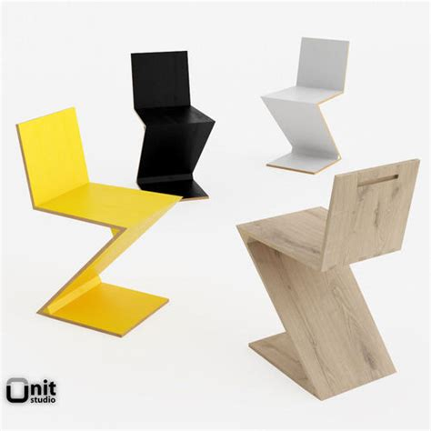 Zig Zag Chair by Zig Zag Chair By Cassina 3d Model Cgtrader