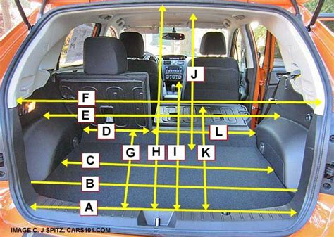 subaru crosstrek interior trunk subaru crosstrek cargo area measurements and dimensions
