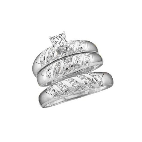 1 carat trio wedding ring set with his and matching