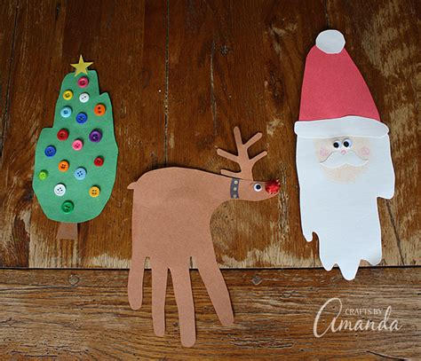 winter construction paper crafts handprint crafts santa rudolph tree