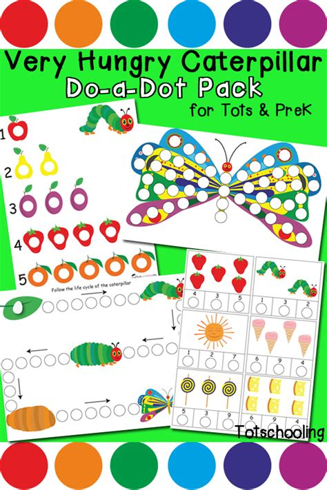 Very Hungry Caterpillar Do A Dot Pack Totschooling The Hungry Caterpillar Fruit Coloring Pages