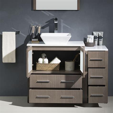 Bathroom Vanity Experts Fresca Torino Single 42 Inch Modern Bathroom Vanity Gray Oak With Vessel Sink