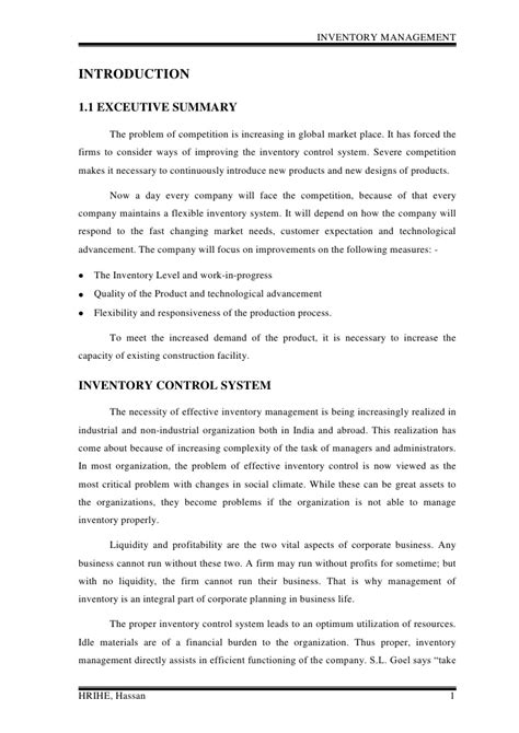 Mba Project Report On Warehouse Management by Inventory Management