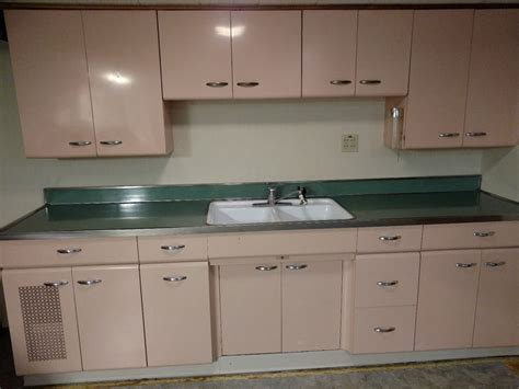 Antique Metal Kitchen Cabinet Vintage Metal Kitchen Cabinets Set Ebay