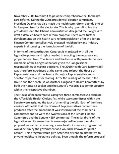 An Essay On Health Care Reform by The 2010 Health Care Reform Bill Essay
