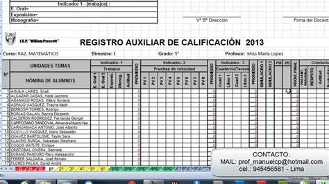 descargar registro auxiliar secundaria gratis sistema de registro completo en excel youtube