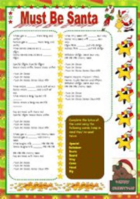 printable lyrics must be santa english worksheet must be santa