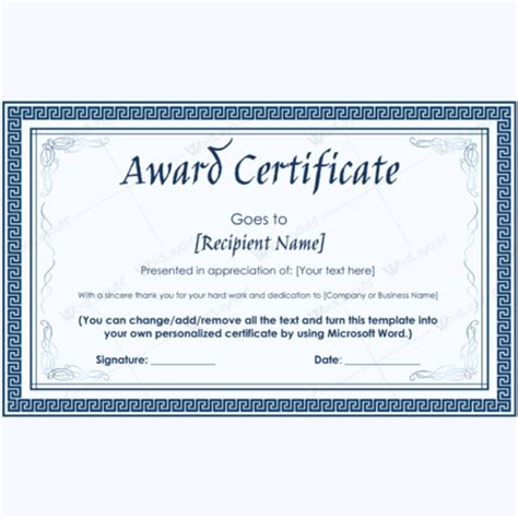 editable award certificate template printable award certificates for microsoft 174 word
