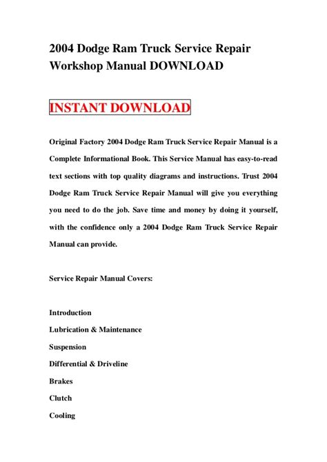 dodge manual best repair manual download 2004 dodge ram truck service repair workshop manual download
