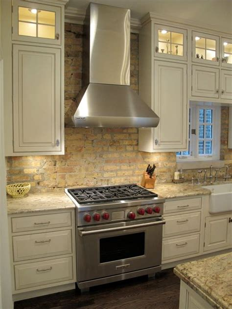 brick backsplash kitchen antique brick backsplash home design ideas pictures remodel and decor