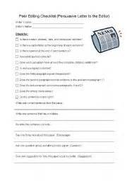 Peer Editing Worksheet For Persuasive Essay by Peer Editing Checklist Persuasive Letter To The Editor