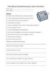 Peer Editing Checklist For Argumentative Essay by Peer Editing Checklist Persuasive Letter To The Editor