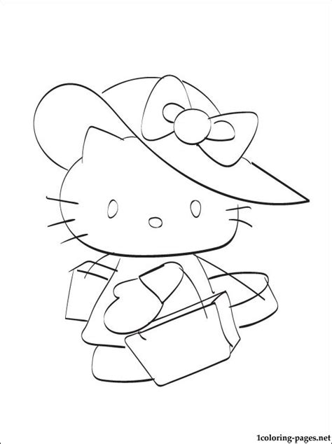 hello kitty in a big hat you can print out it coloring