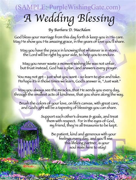 Wedding Blessing For My by A Wedding Blessing Is A Beautiful Keepsake That Blesses