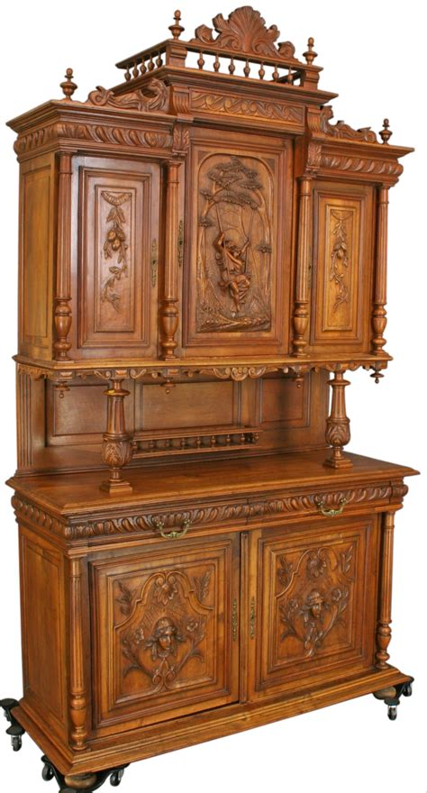 Antique Walnut Romantic French Renaissance Buffet Hutch Antique Buffets And Hutches