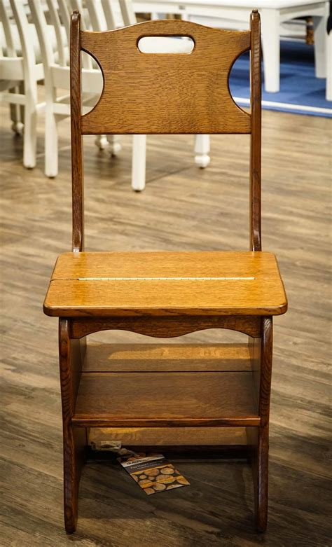solid wood chair and step stool combo from dutchcrafters amish