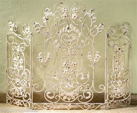 shabby white chic floral iron tole 3 panel fireplace screen