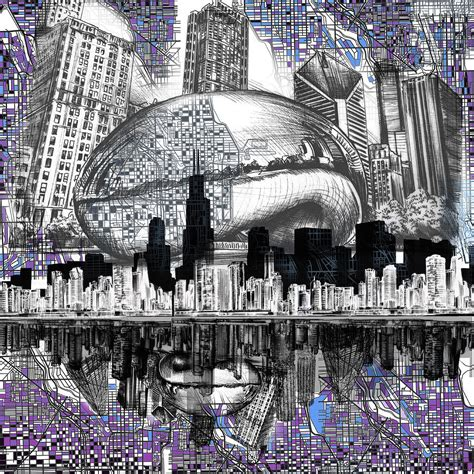chicago skyline drawing collage digital art by bekim art