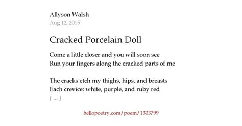 the porcelain doll poem cracked porcelain doll by allyson walsh hello poetry