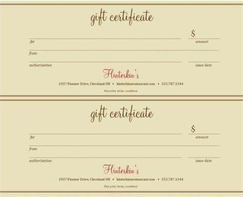 Gift Card Template For Cafe by Restaurant Gift Certificate Template Journalingsage