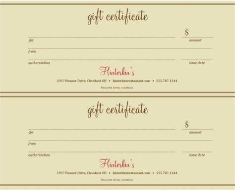 Restaurant Gift Certificate Template Journalingsage Com Meal Gift Certificate Template